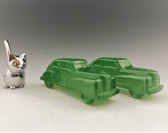 Set of 2 Vintage Green Glass Cars - Early Candy Holders - Iridescent Glass Cars