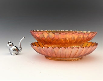 Imperial Pillar Flute Pattern - Carnival Glass Pickle or Celery Dish - Set of Two - Marigold Imperial Glass