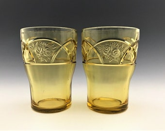 Set of 2 Federal Glass Rosemary Pattern Tumblers - Dutch Rose Glasses - Depression Era Amber Glass