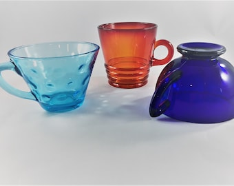 Assortment of 3 Vintage Coffee or Tea Cups - Shabby Chic Decor - Door Room Essentials - Red and Blue Glass Class - Amberina