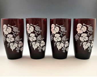 Set of 4 Anchor Hocking Grape Royal Ruby Red Glasses - White Grape and Vine Motif - Vintage and Discontinued - 12 Ounce Flat Tumblers