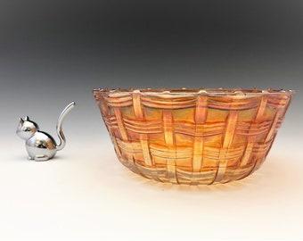 Vintage Marigold Carnival Glass Bowl - Basket Weave Pattern