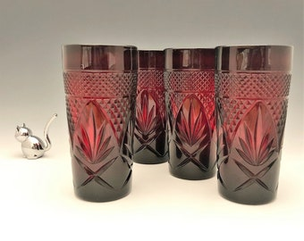 Ruby Red Luminarc Arcoroc Tumblers - Set of 4
