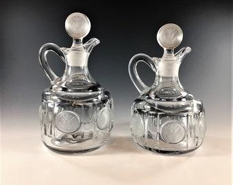 Set of 2 Vintage Fostoria Cruets - Coin Glass Clear