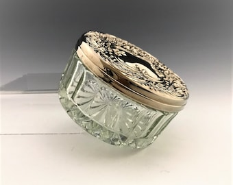 Vintage Glass Puff Jar or Dresser Jar With Silver Plated and Mirrored Lid - International Silver Company