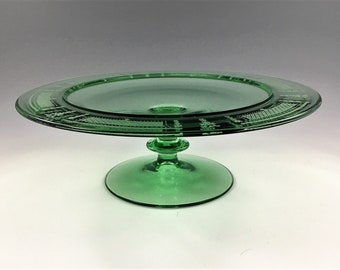 Vintage Fostoria Low Comport (#2350) - Footed Compote With Beverly Etch (#276) - Green Depression Era Glass - Uranium Glass