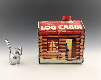 UNOPENED Log Cabin Syrup Metal Tin - 100th Anniversary - SEALED Metal Syrup Can - Advertising