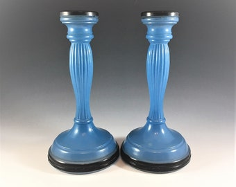 Set of 2 Vintage Wedgewood Design Indiana Glass Fine Rib Candlestick Holders - Blue Candle Holders - Indiana Pattern #4 - Depression Era