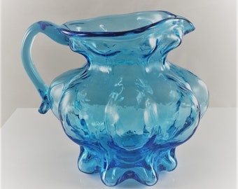 Kanawha Glass - Blue Art Glass Pitcher - Small Blown Glass Creamer - Squat Pitcher