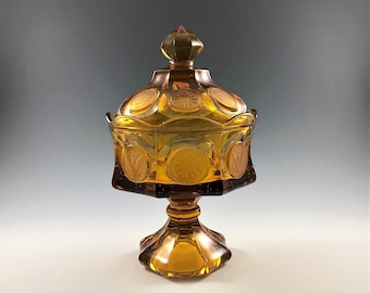 Stunning Fostoria Amber Coin Glass Wedding Box With Lid