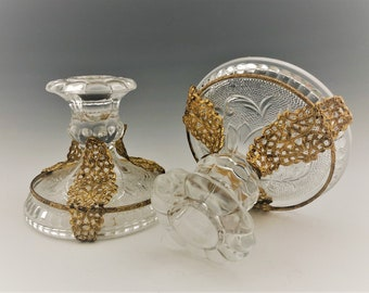 Pair of Indiana Glass Early American Pattern (#170) Low Candlesticks With Ormolu Decoration