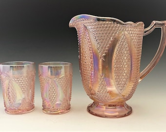 Westmoreland High Hob Water Set - Made for Levay - Pink Carnival Glass - Limited Edition - Hard to Find - Pitcher and 6 Tumblers