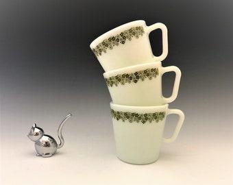 Set of 3 Pyrex Spring Blossom Coffee Mugs - Crazy Daisy Mugs - Mid Century Classics