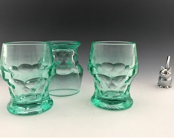 Set of 3 Stunning Vintage Aqua Colored Georgian Tumblers  - Viking Glass - Glowing Uranium Glass