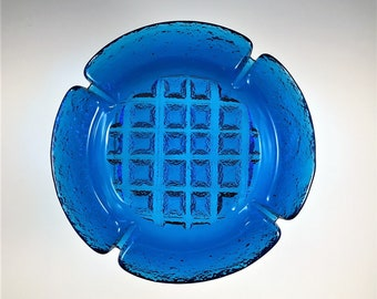 Stunning Vintage Blenko Blue Glass Ashtray - Joel Myers Design - Waffle Art Glass - Beach Surf Blue - 8 Inch Diameter - Cigar Ashtray