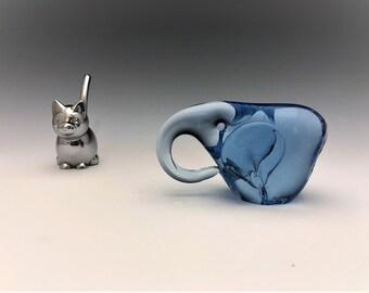 Blue Art Glass Elephant
