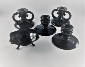 Collection of 5 Ebony Glass Candle Holders - Onyx Glass - Vintage Black Glass Candlestick Holders -  Including L.E. Smith #408