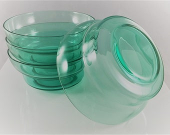 Set of 4 Uranium Glass Bowls - Green Glass Bowls - Vintage Cereal Bowls - Promotional Items
