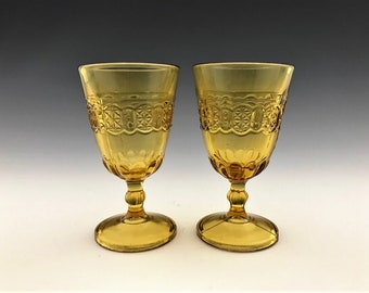 Set of 2 EAPG Wine/Cordial Glasses - Adams and Company Cottage (OMN) Pattern - AKA Dinner Bell - Amber Early American Pattern Glass