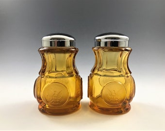 Fostoria Coin Amber Salt and Pepper Shakers