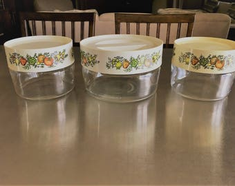 Three Vintage Pyrex Glass Kitchen Canisters - Spice of Life Pattern