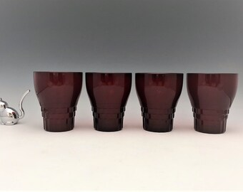 Set of 4 Vintage Ruby Red Tumblers - Anchor Hocking Windsor Royal Ruby - 10 Ounce Tumblers