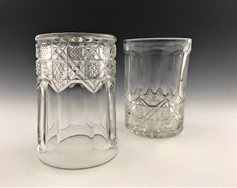 Set of 5 EAPG Tumblers - McKee Glass Company - Plutec Pattern - Circa 1906 - Early American Pattern Glass
