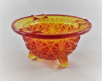 Vintage Amberina Glass Ashtray - L.E. Smith Flame - Daisy and Button Pattern - Orange and Red Glass -
