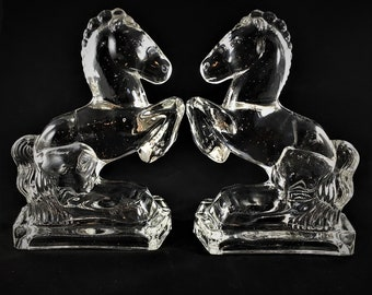 Vintage L.E. Smith Clear Glass Horses - Bookends - Candy Glass