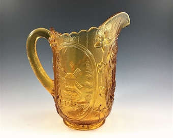 Imperial Glass Amber Pitcher - Windmill Pattern - 16 Ounce Pitcher