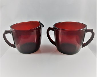Ruby Red Breakfast Set - Creamer and Sugar Bowl - Anchor Hocking Royal Ruby