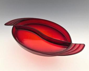 Stunning Duncan & Miller Oval Two Part Relish Dish - Ruby Red - Art Deco Design - Depression Era Elegant Glass - Hard to Find