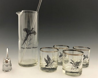 Federal Glass Sportsman's Cocktail Set - 6 Piece Set - Wild Game Birds - Mid Century Barware