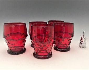 Viking Glass Ruby Red Georgian Tumblers  - Set of 5