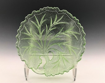 Indiana Pebble Leaf Bread Plate - Twiggy or Tree of Life Plate - Uranium Glass - Green Glowing Glass