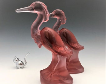 Imperial Cathay Cranberry Frosted Egrettes - Set of Two Glass Egrets - Hard to Find - Virginia B. Evans
