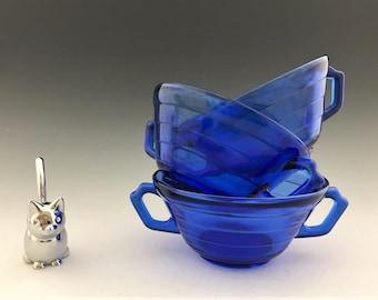Set of 3 Hazel Atlas Moderntone Cobalt Cream Soup Bowls - Hard to Find Blue Depression Glass