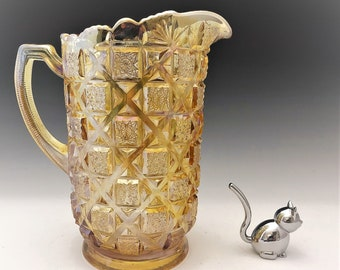 Westmoreland Old Quilt Pitcher - Honey Amber Carnival Glass