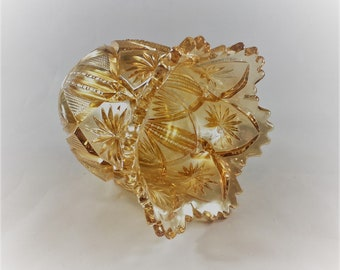 Vintage Hard to Find Millersburg Country Kitchen Carnival Glass Spooner - Marigold - Iridescent Glass