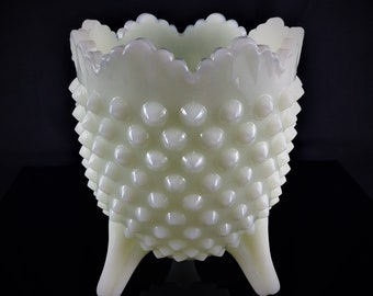 Vintage Fenton Custard Glossy Hobnail 3-Toed Vase - Trademarked on Bottom