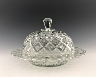 Anchor Hocking Waterford Clear Covered Butter Dish - Depression Era Glass