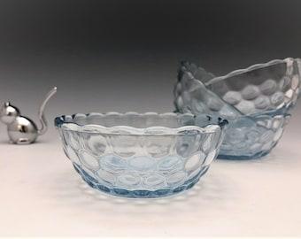 Anchor Hocking Bubble Blue Dessert Bowls - Set of 4 - 1942-48