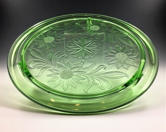 Vintage Green Jeannette Glass - Footed Cake Plate/Plattern With Sunflower Pattern - 10 Inch - Uranium Glass