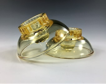 Set of 2 Cambridge Glass No. 1715 Candleholders - Mandarin Gold - Doubles as Ashtray - Mid Century Glass - Topaz Glass Candlestick Holder