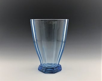 Stunning Vintage Blue Glass Vase - Octagonal Base and Wide Ribs - 7 Inch Flower Vase