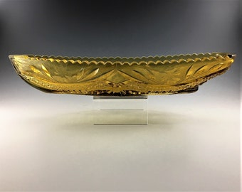 Vintage Kemple Glass Celery Tray or Relish Dish - Innovation Canoe in Honey Amber (OMN #88) - Circa 1960's