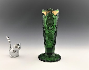EAPG Bud Vase - Green Glass Flower Vase - U.S. Glass Company No. 16019 - Early American Pattern Glass (c. 1898)
