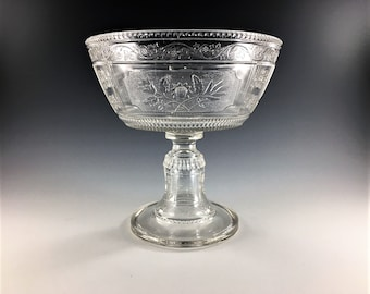 EAPG Compote - Bryce Bothers Glass - Wreath Pattern (OMN) - AKA Willow Oak - Circa 1880s - Early American Pattern Glass