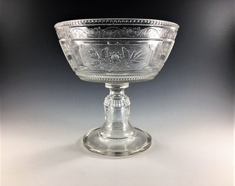EAPG Compote - Bryce Brothers Glass - Wreath Pattern (OMN) - AKA Willow Oak - Circa 1880s - Early American Pattern Glass