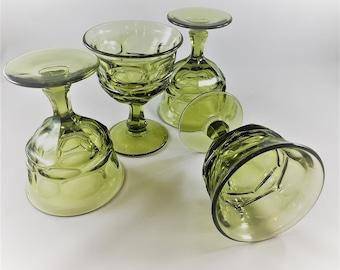 Set of 4 Vintage Fostoria Champagne or Tall Sherbet Glasses - Argus Green Pattern (Stem 2770)